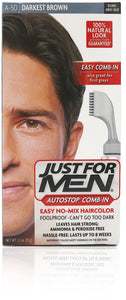 Just for men a-50 autostop comb-in darkest brown (3 pack)