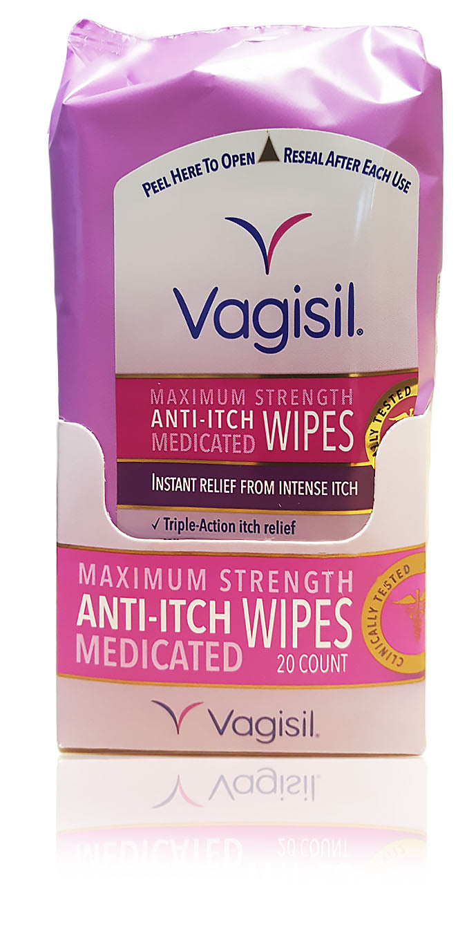 Vagisil medicated anti-itch wipes, maximum strength, 12 wipes (pack of 3) total 36 wipes