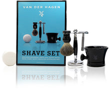 Van der hagen big blue shave set, with hypo-allergenic shave soap, badger brush, metal stand, safety razor and apothecary mug