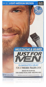 Just for men m-30 mustache & beard gel light medium brown (3 pack)