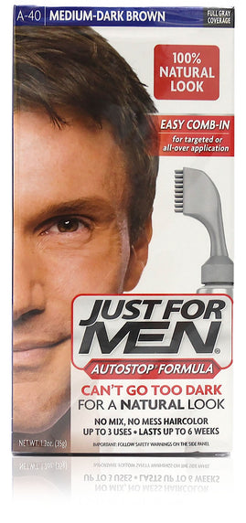 Just for men a-40 autostop comb-in medium dark brown (3 pack)