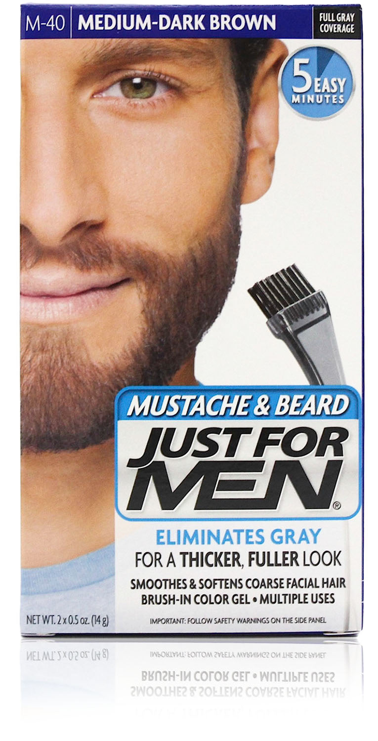 Just for men m-40 mustache & beard gel medium dark brown (3 pack)