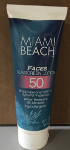 Miami beach faces sunscreen lotion, spf 50, 4oz