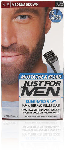 Just for menm-35 mustache & beard gel medium brown (3 pack)