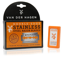 VAN DER HAGEN DOUBLE EDGE STAINLESS STEEL RAZOR BLADES Pack of 3 5 blades in Each pack