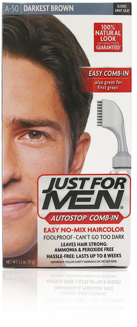 Just for men a-50 autostop comb-in darkest brown (4 pack)