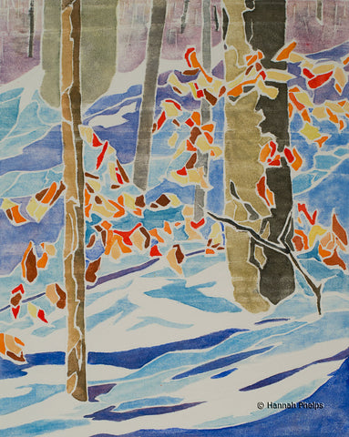 Leaves in Winter, white-line woodcut print of snow by New Hampshire artist Hannah Phelps
