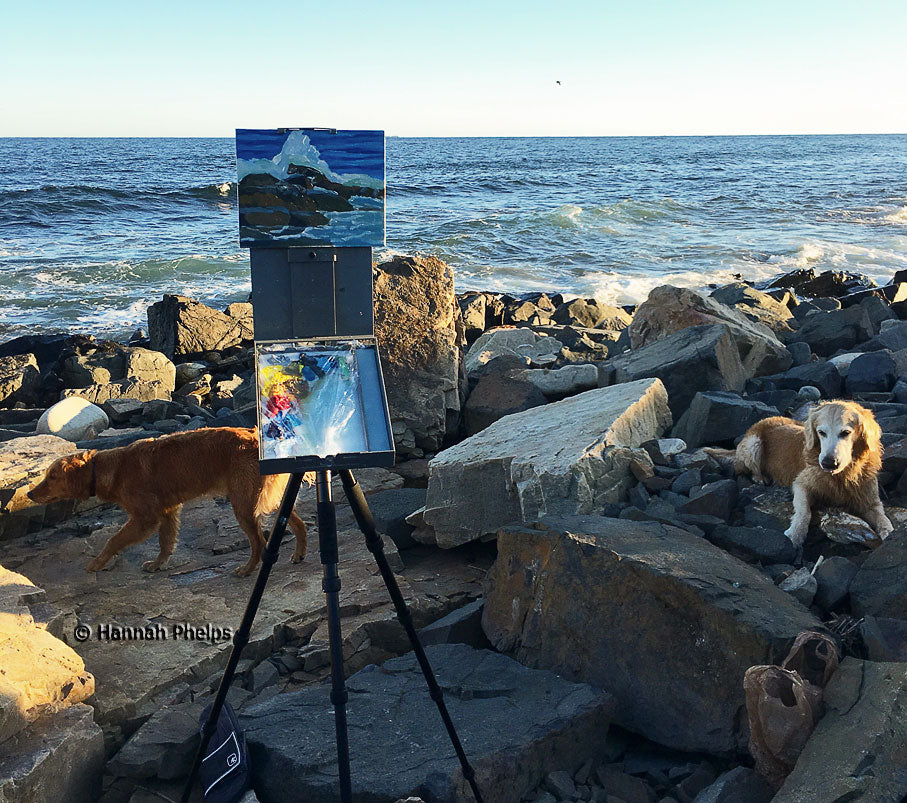Golden Retrievers helps New England artist, Hannah Phelps, paint on site in Maine.