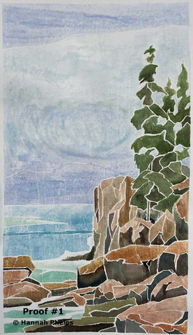 White-line woodcut of Acadia National Park by New Hampshire artist Hannah Phelps