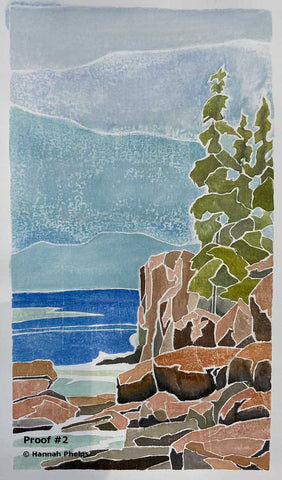 White-line woodcut of Acadia National Park by artist Hannah Phelps
