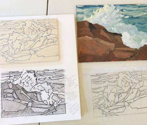 Painting, drawing and block for Appledore Evening, jigsaw print by New England artist, Hannah Phelps.