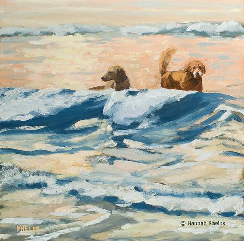 Oil painting of golden retriever dogs playing on a New England beach by artist Hannah Phelps