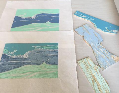 Appledore Blue, a jigsaw reduction woodblock print, in the making.