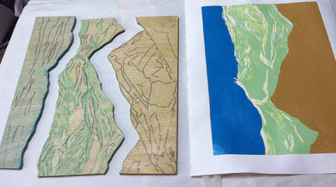 Block and print from the creation of Turning Tide by artist Hannah Phelps