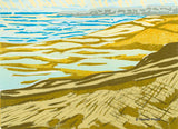 A jigsaw reduction woodblock print of a New England beach by artist Hannah Phelps