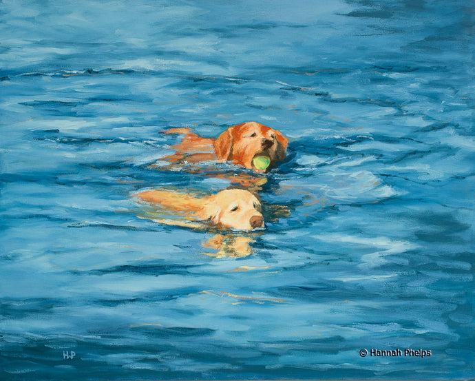 Oil painting of a Golden Retriever dogs playing in the sea by New England artist Hannah Phelps