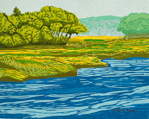 A woodblock print of a marsh in Maine