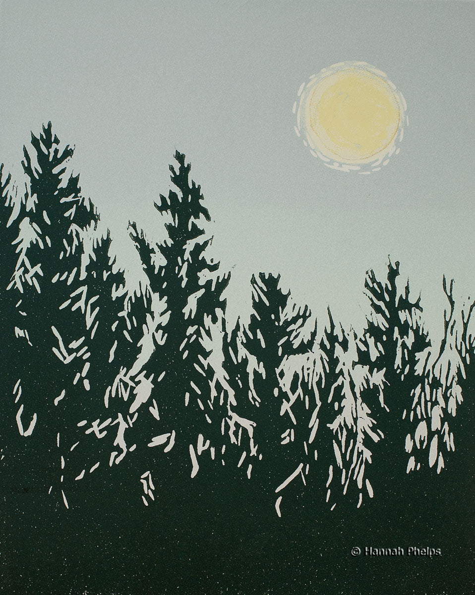 A woodblock print of a full moon setting over trees in New England