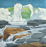 Oil painting of a breaking wave on Maine's rocky coast by New England artistHannah Phelps