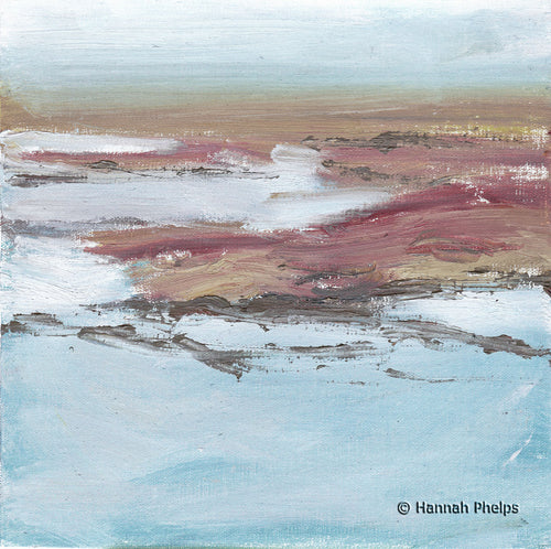 Fog in the Marsh, a plein air oil painting of Maine by New England artist Hannah Phelps