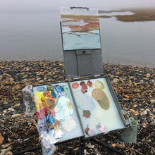 Artist Hannah Phelps' Strada easel set up in a foggy marsh in Maine.