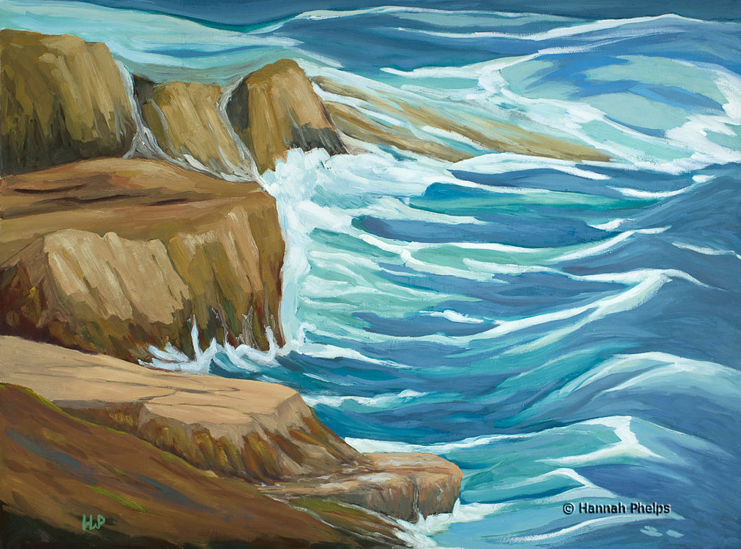 Oil painting of Appledore Island in Maine.