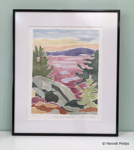 A white-line woodcut, or Provincetown Print, of Mount Monadnock in autumn by New Hampshire artist, Hannah Phelps.