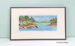 Framed jigsaw print of a marsh scene by New England artist, Hannah Phleps