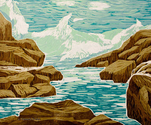 woodblock of a New England wave crashing