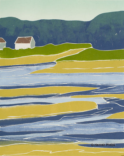 Marsh Retreat, jigsaw woodblock print