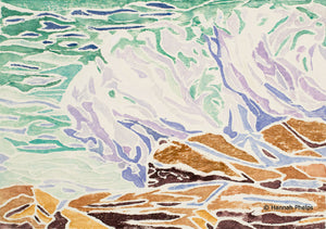 Provincetown Print of crashing surf in Maine by New England artist Hannah Phelps.