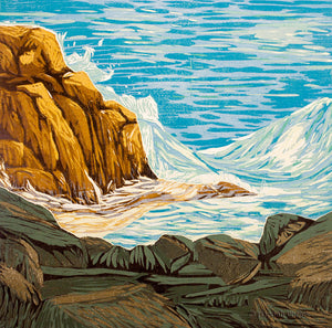 woodblock of a wave crashing on a rock in Maine