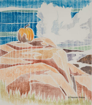 A white-line woodcut of a pumpkin and the ocean by New England artist Hannah Phelps.