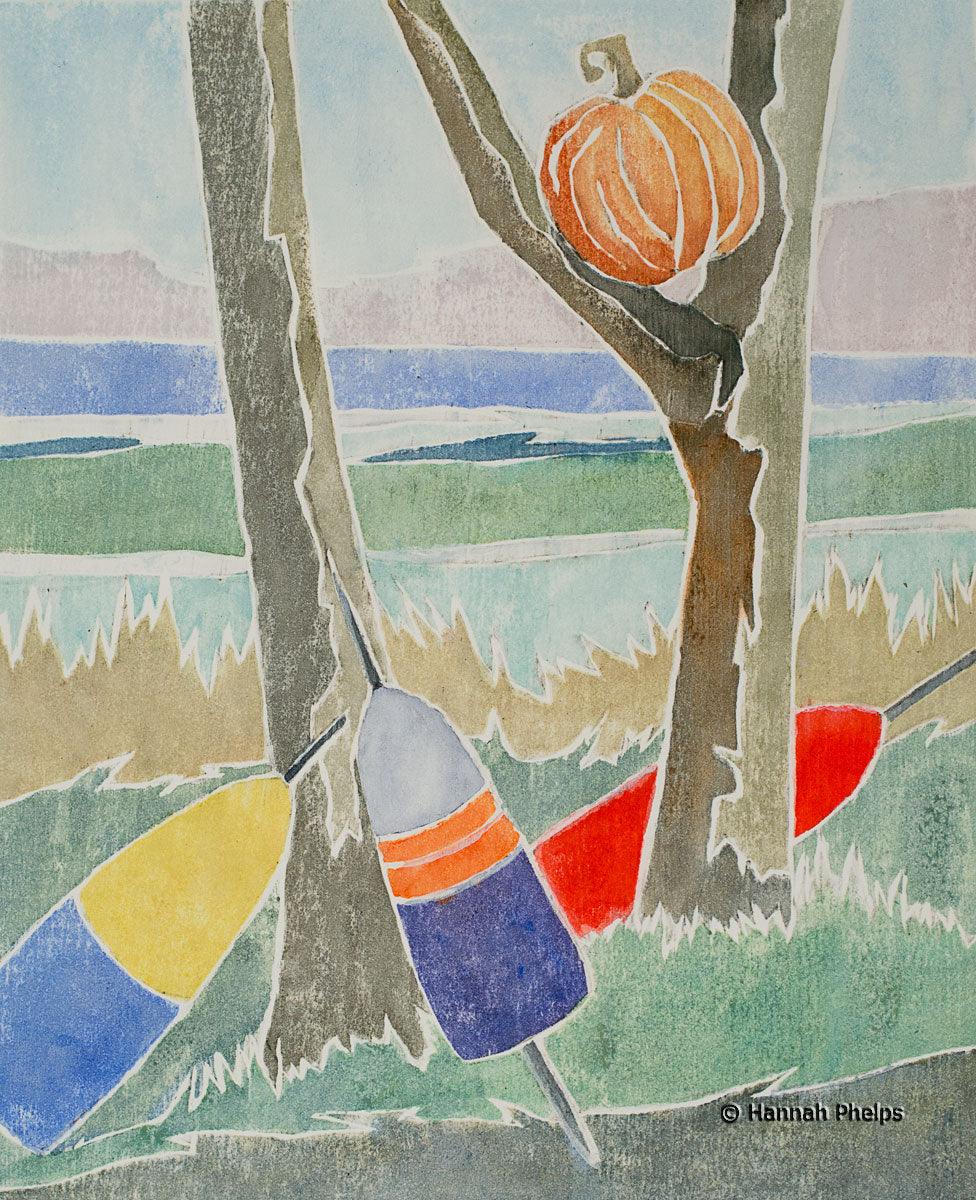 A white-line woodcut of a pumpkin in a tree surrounded by lobster buoys in Maine by Hannah Phelps