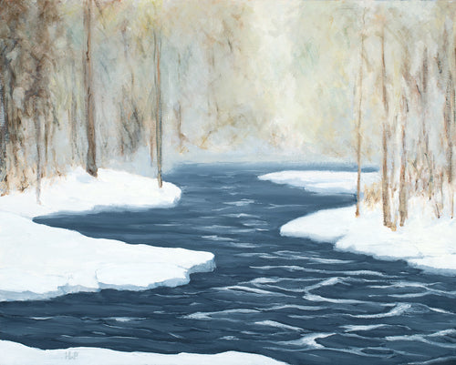 Oil painting of a winter river masked by fog by New Hampshire artist Hannah Phelps