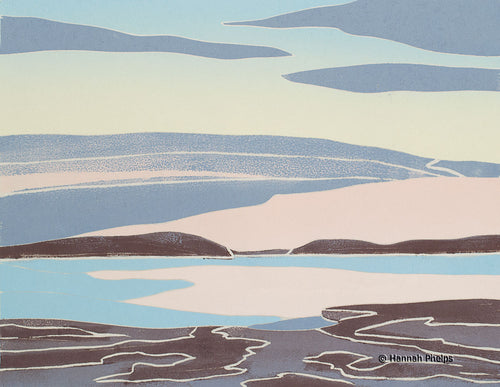 Jigsaw woodblock print by New England artist Hannah Phelps