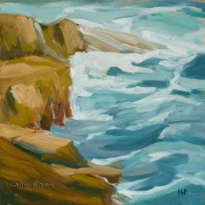 Oil painting of surf pounding on rocks on Appledore Island off the coast of New England by artist Hannah Phelps.