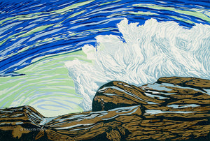 woodblock print of a wave crashing on a rock in Maine by artist Hannah Phelps