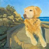 Oil painting of a golden retriever dog sitting on a rock by New England artist Hannah Phelps