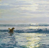 Oil painting of a Golden Retriever dog playing on the beach by New England artist Hannah Phelps