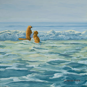Oil painting of a Golden Retriever dogs jumping waves on a beach by New England artist Hannah Phelps