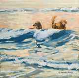 Oil painting of two golden retriever dogs on a beach in New England by artist Hannah Phelps.