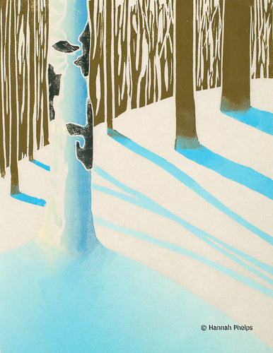 Hand-pulled woodblock print of a snowy forest by artist Hannah Phelps