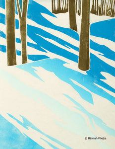 Winter Shadows, jigsaw woodblock print