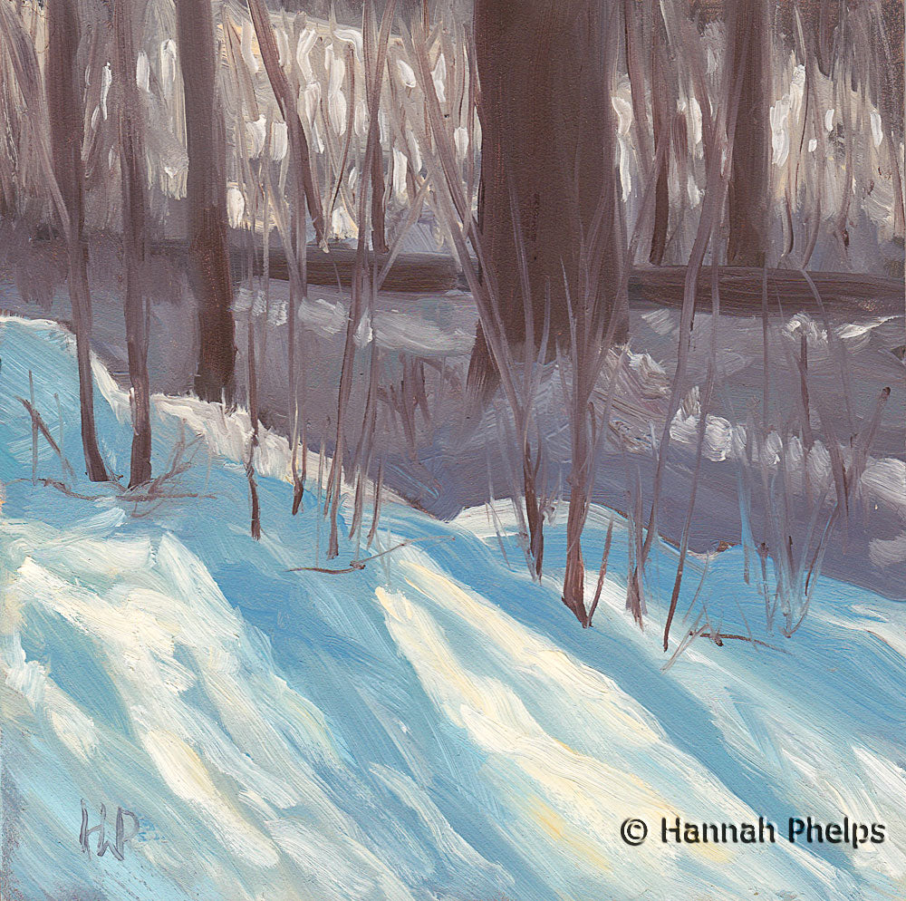 Oil painting of the snowy woods by New England artist Hannah Phelps