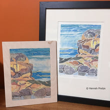 White-line woodcut print framed next to the block by New England artist, Hannah Phelps