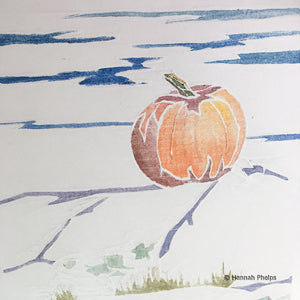 Pumpkin by the Sea, white-line woodcut print