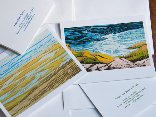collection of 8 notecards and envelopes featuring seascape block prints by New England artist Hannah Phelps