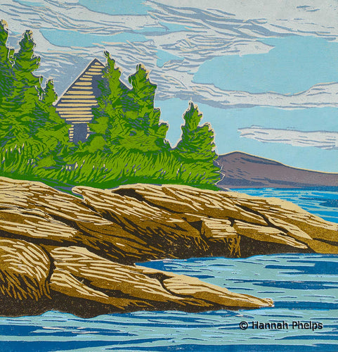 woodblock print of a New England summer cottage