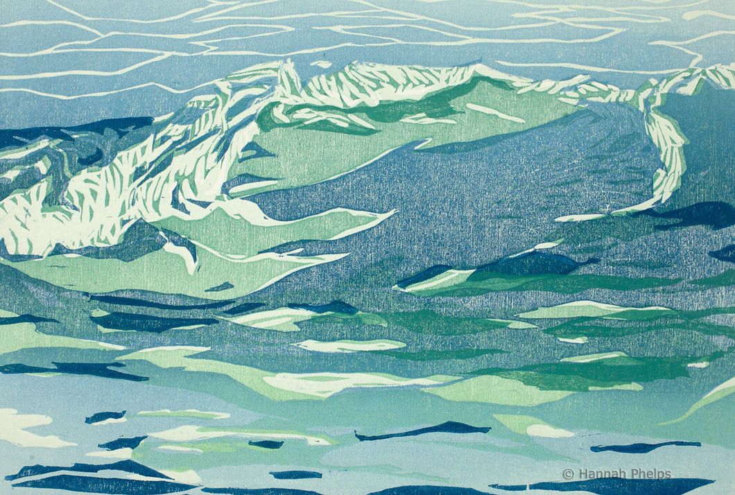 Woodblock print of a wave by New England artist Hannah Phelps